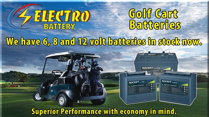 The Rocket Golf Cart Battery at Electro Battery in St Petersburg, Florida